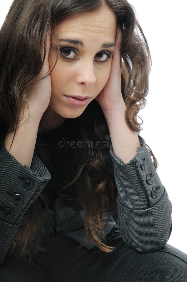 Tiener met hoofdpijn stock foto's