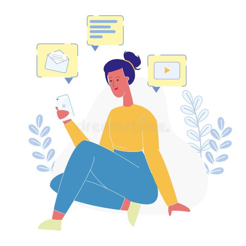Tiener Online Communicatie Vlakke Illustratie royalty-vrije illustratie