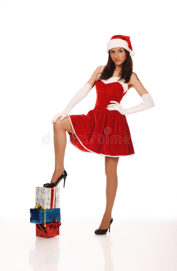 Tiener in rode Kerstmiskleding royalty-vrije stock afbeelding