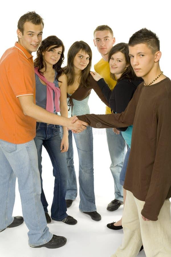 Tiener vergadering royalty-vrije stock afbeelding
