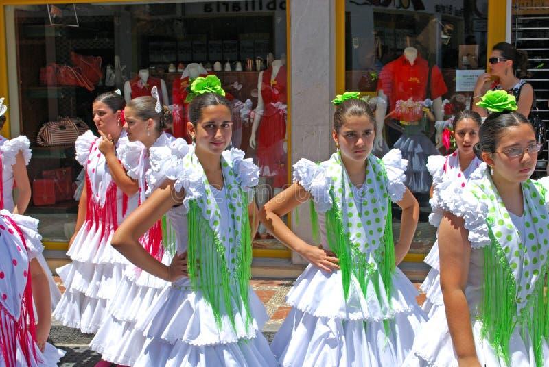 Tienerflamencodansers, Marbella royalty-vrije stock fotografie