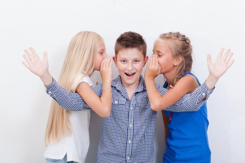 Tienergirsl die in de oren van een geheim fluisteren stock foto