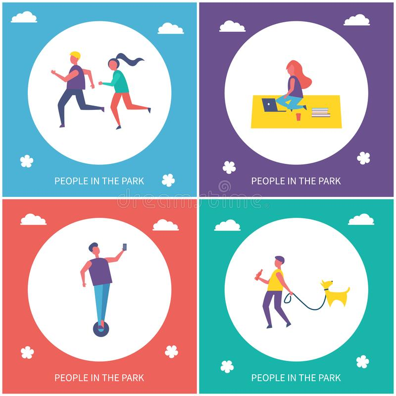 Tienerjaren die Actieve Vrije tijd in de Banner van het Parkbeeldverhaal hebben vector illustratie