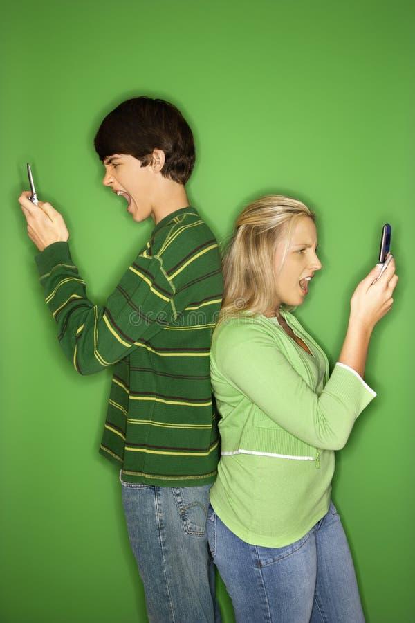 Tienerjaren op cellphone. royalty-vrije stock foto's