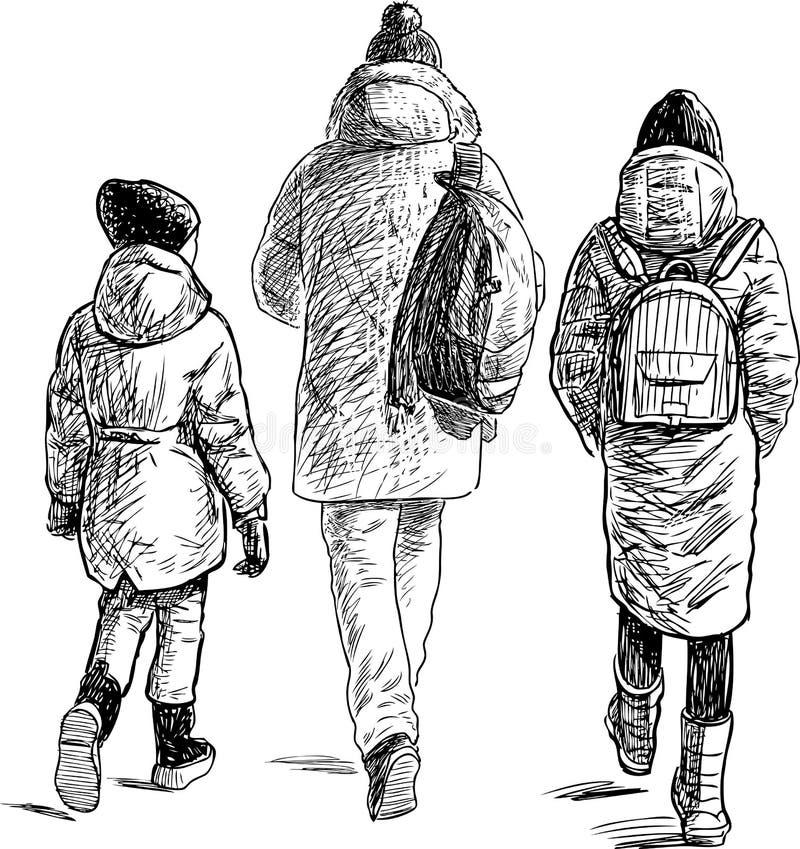 Tienerjarenvrienden die voor een gang gaan royalty-vrije illustratie