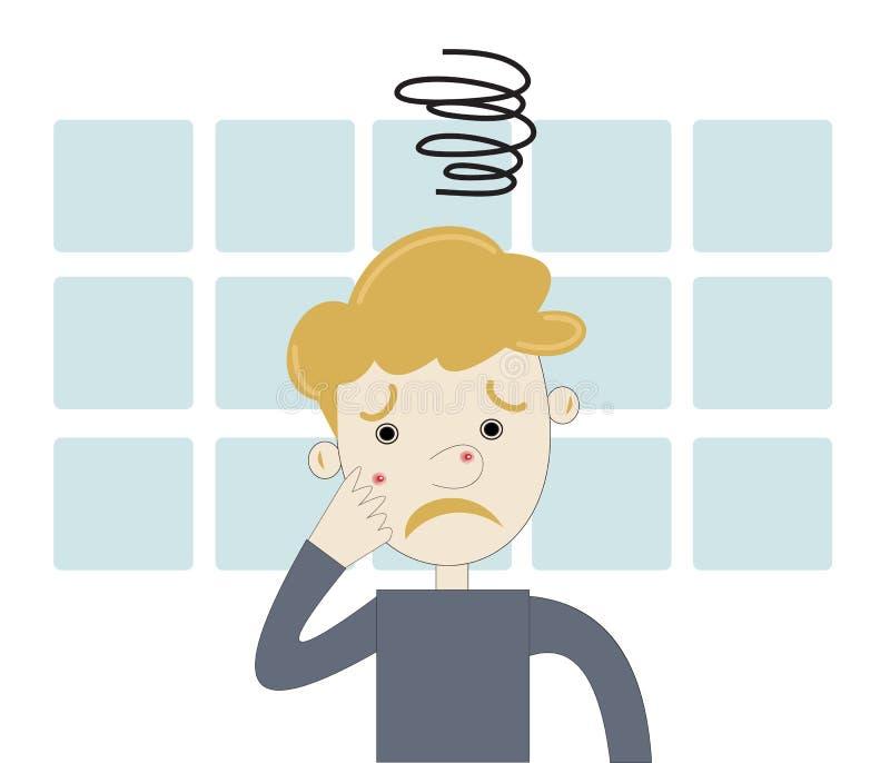 Tienerjongen boos met acne stock illustratie