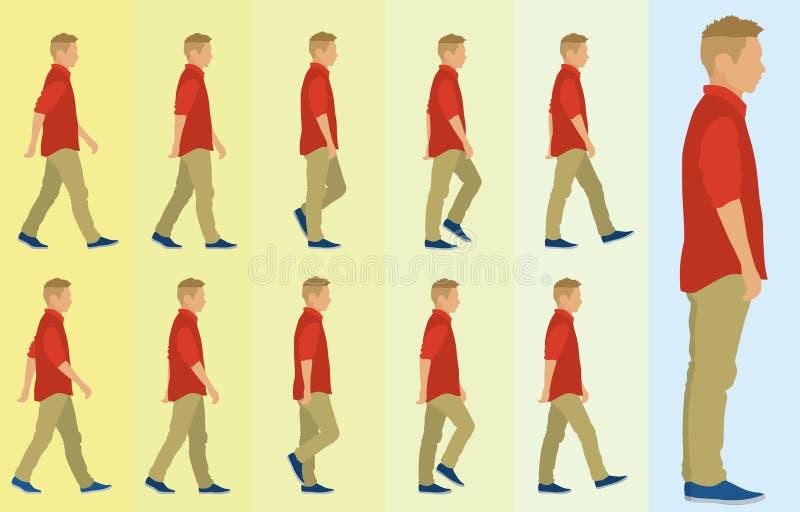 Tienerjongen het Lopen Cyclus stock illustratie