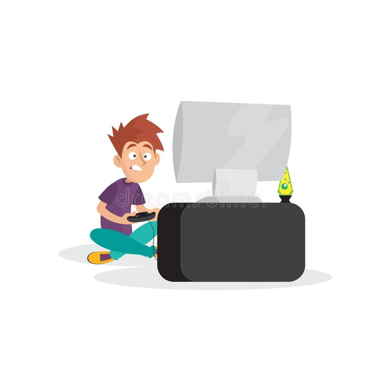 Tienerjongen het spelen in videospelletje Het karakterzitting van de beeldverhaaljongen met benenkruisen voor computer met bedien vector illustratie