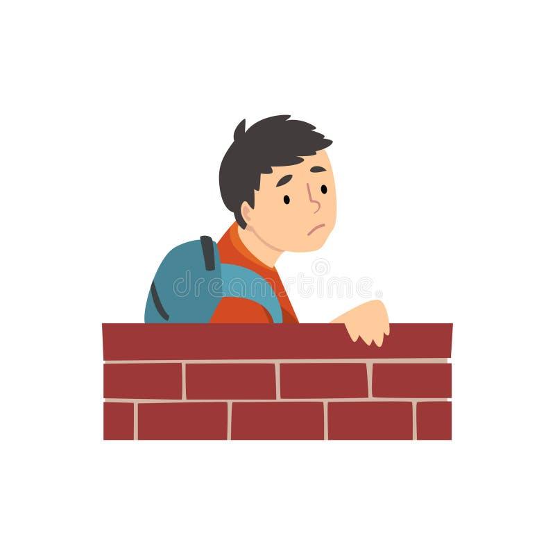 Tienerjongen met Rugzak die zich achter de Vectorillustratie van het Bakstenen muurbeeldverhaal bevinden stock illustratie