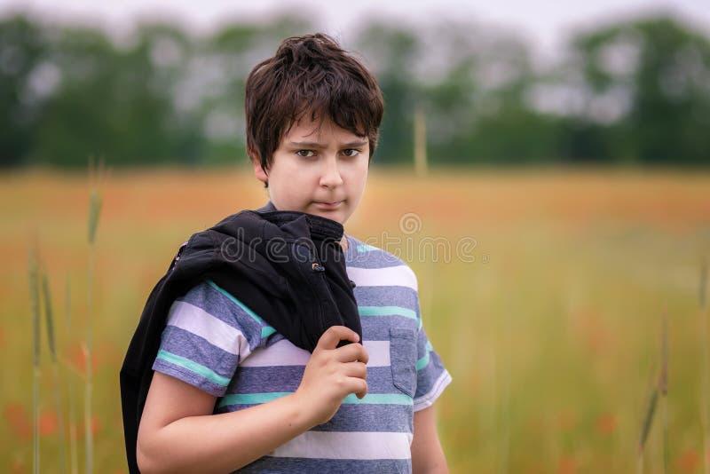 Tienerjongen op gebied stock fotografie