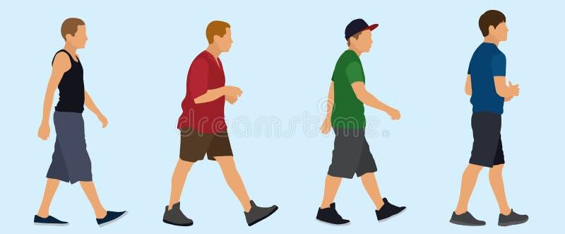 Tienerjongens het Lopen stock illustratie