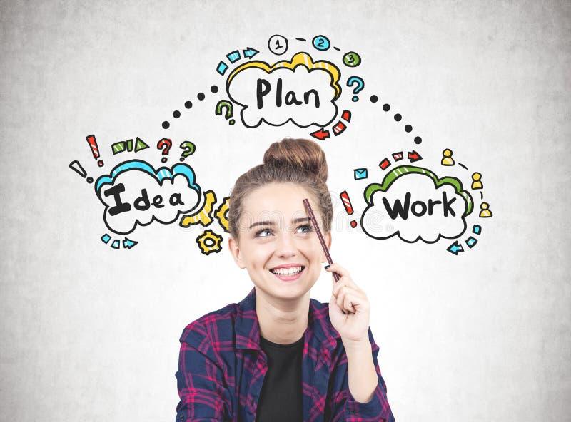 Tienermeisje met een potlood, businessplan stock fotografie
