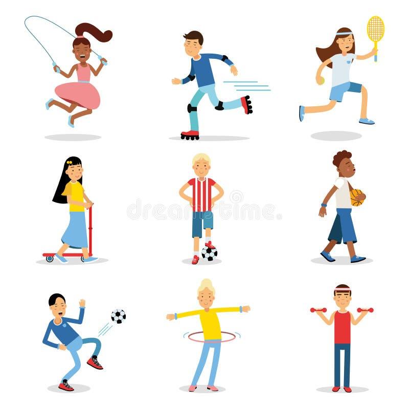 Tieners die verschillende sportreeks doen De vectorillustraties van de kinderenfysische activiteit stock illustratie