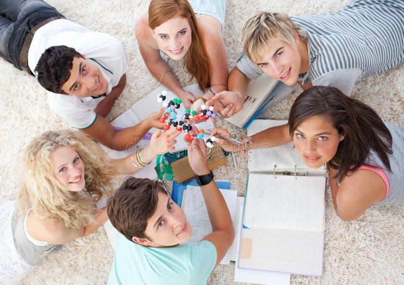 Tieners die Wetenschap op de vloer bestuderen royalty-vrije stock foto's