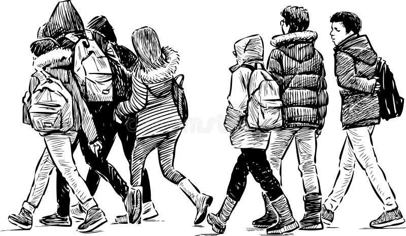 Tieners op een wandeling stock illustratie