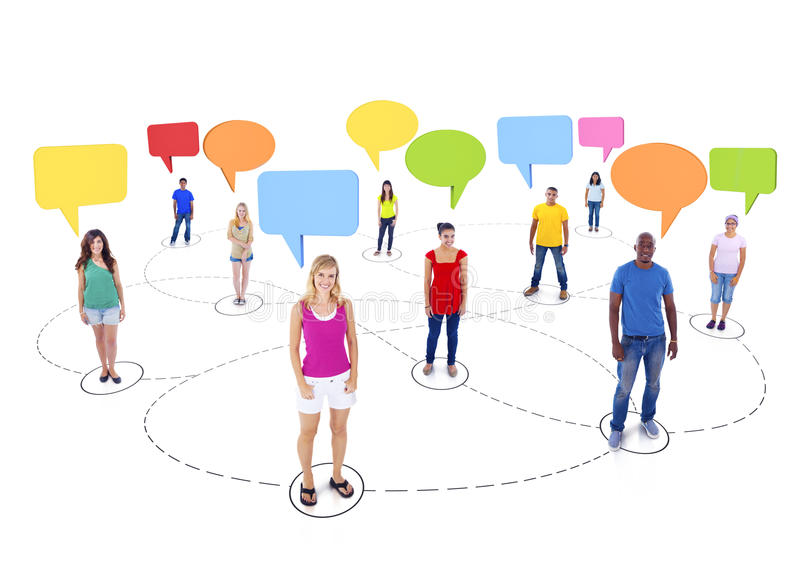 Tienerstudent Connection en Kleurrijke Toespraakbellen royalty-vrije stock foto
