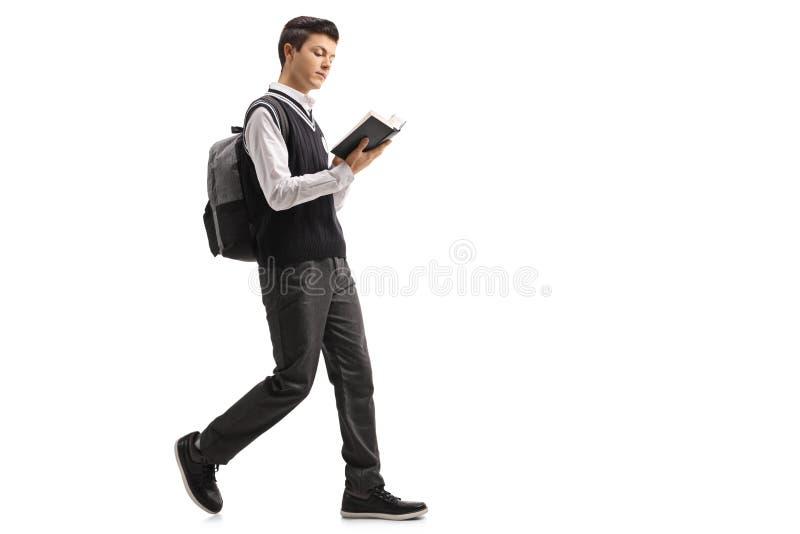 Tienerstudent die een boek en het lopen lezen stock afbeelding