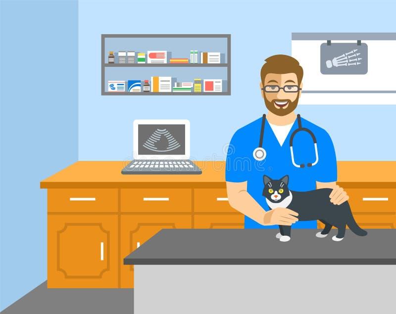 Tierärztlicher Doktor hält Katze auf Prüfungstabelle vektor abbildung