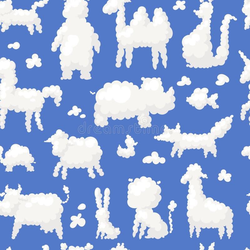 Tier bewölkt netten Bauernhof der weißen Fantasievektor-Illustration der süßen Träume des Schattenbildes Kinderund wilde Formen vektor abbildung