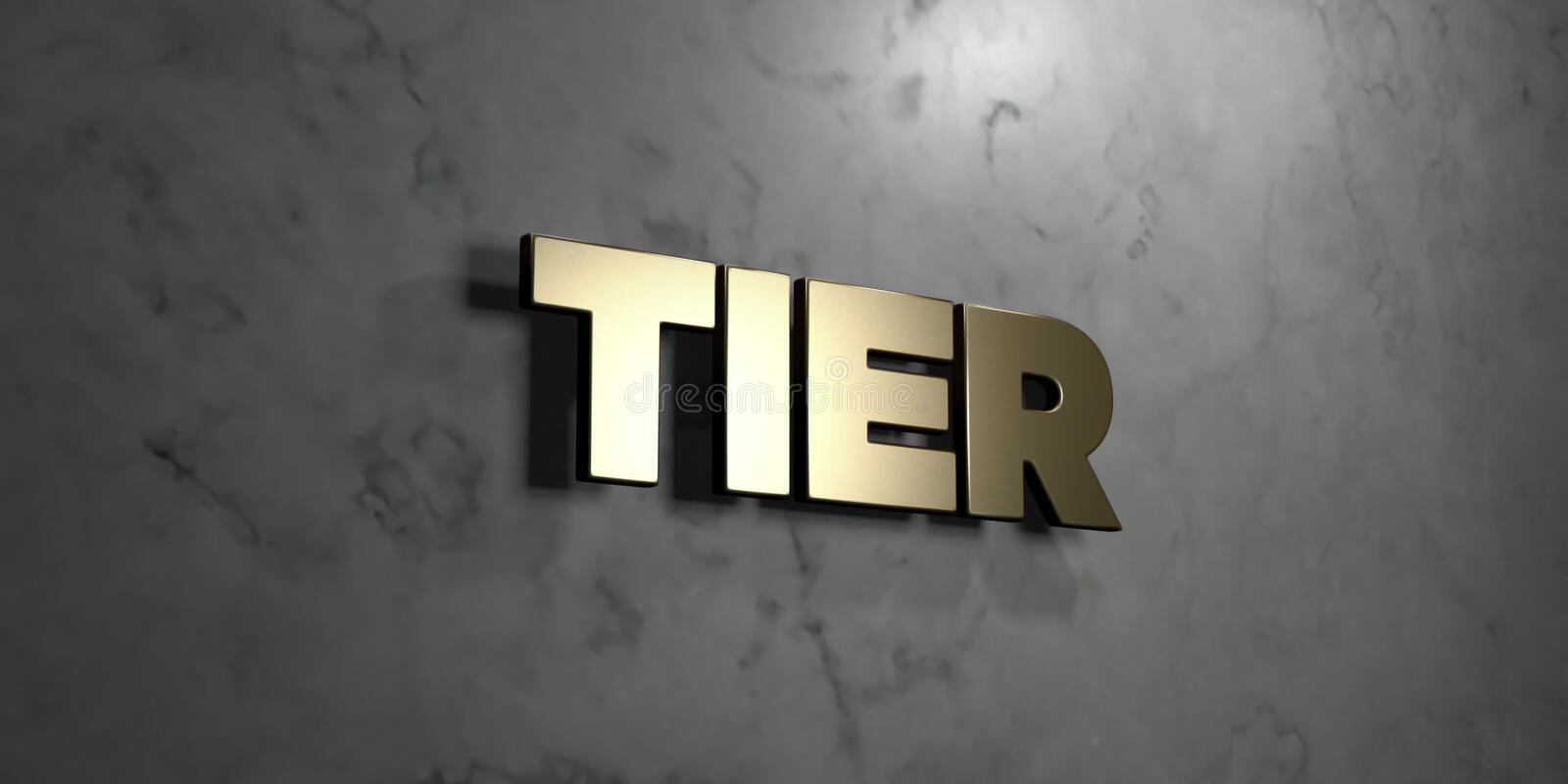 Tier - Gold sign mounted on glossy marble wall - 3D rendered royalty free stock illustration. This image can be used for an online website banner ad or a print vector illustration