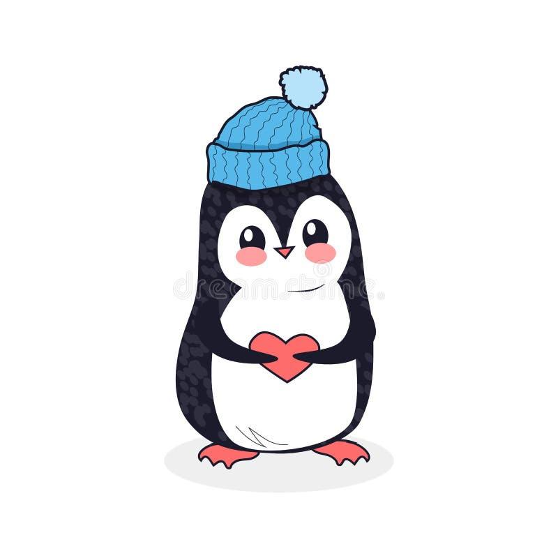 Tier-Pinguin-Design flach stock abbildung