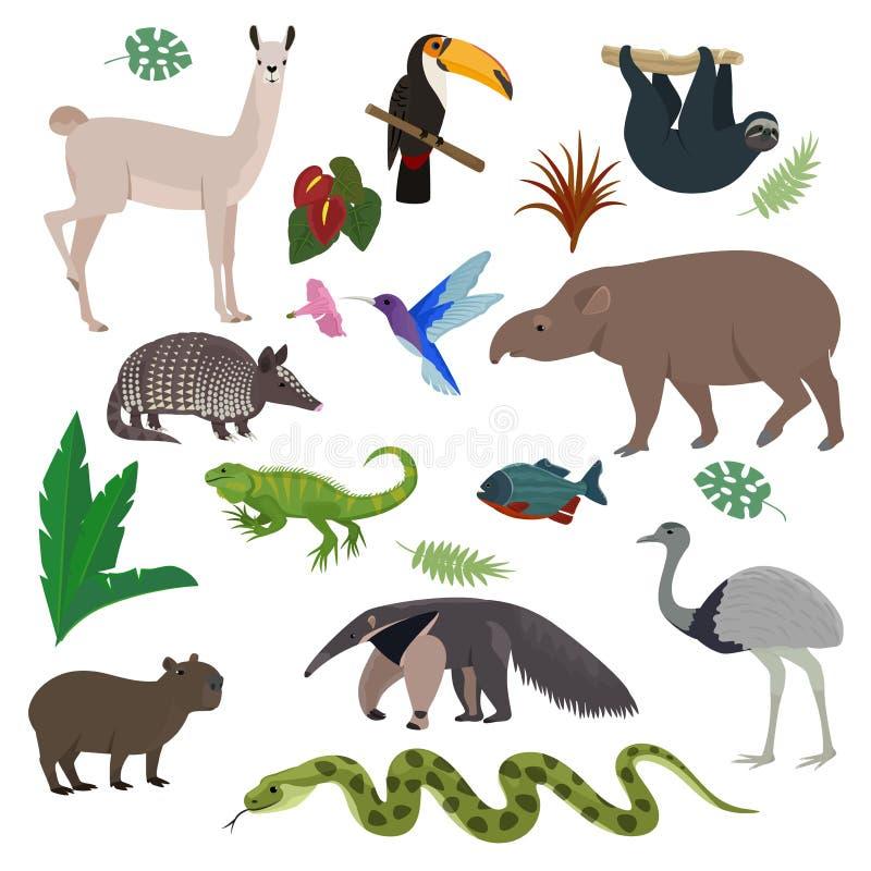 Tier Säugetiercharakter Capybara-Tapirtukan Südamerika-Vektors im wilden animalistic in der südlichen Illustration der wild leben vektor abbildung