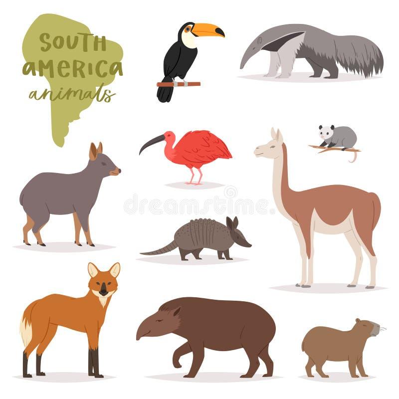 Tier Säugetiercharakter Capybara-Tapirtukan Südamerika-Vektors im wilden animalistic in der südlichen Illustration der wild leben lizenzfreie abbildung