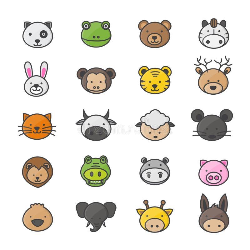 Tier und Zeichentrickfilm-Figuren eingestellt von den Haustier-Farbikonen-Art-bunten flachen Ikonen lizenzfreie abbildung