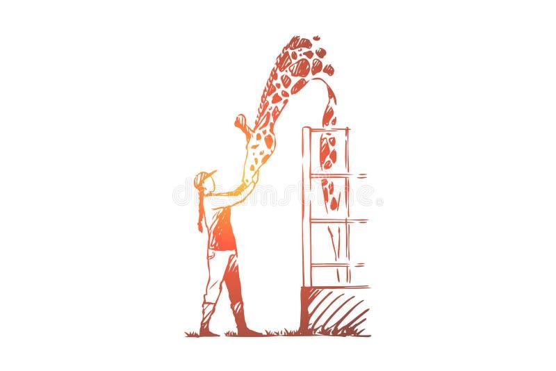 Tier, wild, Giraffe, Rettung, Zookonzept Hand gezeichneter lokalisierter Vektor lizenzfreie abbildung