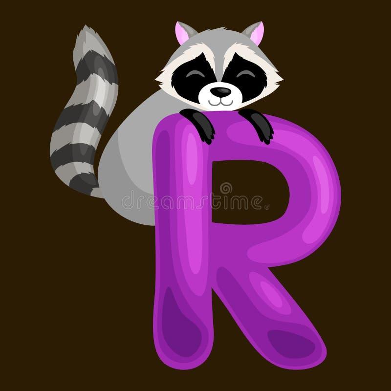 Tieralphabet für Kinder fischen Buchstaben R, Karikaturspaß-ABC-Bildung in der Vorschule, nettes Kinderzoo-Sammlungslernen lizenzfreie abbildung