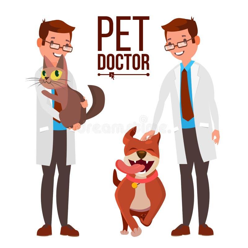 Tierarzt Male Vector Hund und Katze Medizin-Krankenhaus Haustierdoktor Gesundheitswesen-Klinik-Konzept Lokalisierte flache Karika stock abbildung