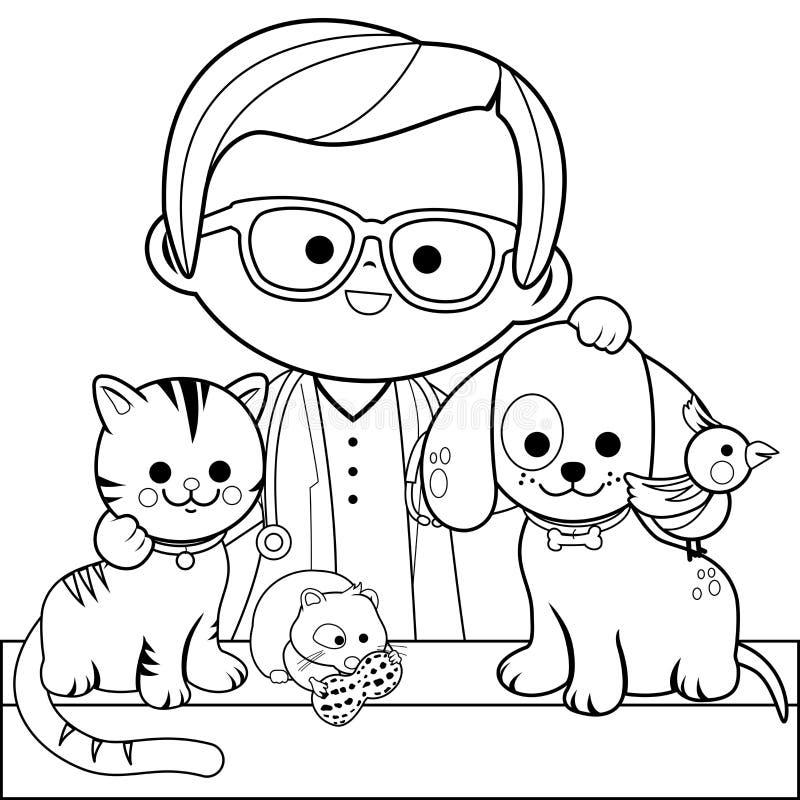 Tierarzt und Haustiere Malbuchseite stock abbildung