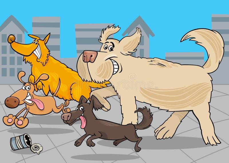 Tiercharaktere der Karikatur laufende Hunde lizenzfreie abbildung