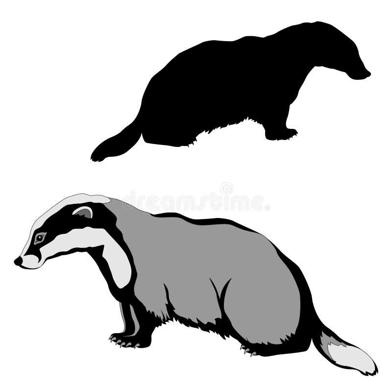 Tierdachsschwarz-Schattenbild ation vektor abbildung