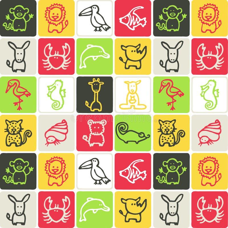 Tiere überprüftes Muster stock abbildung