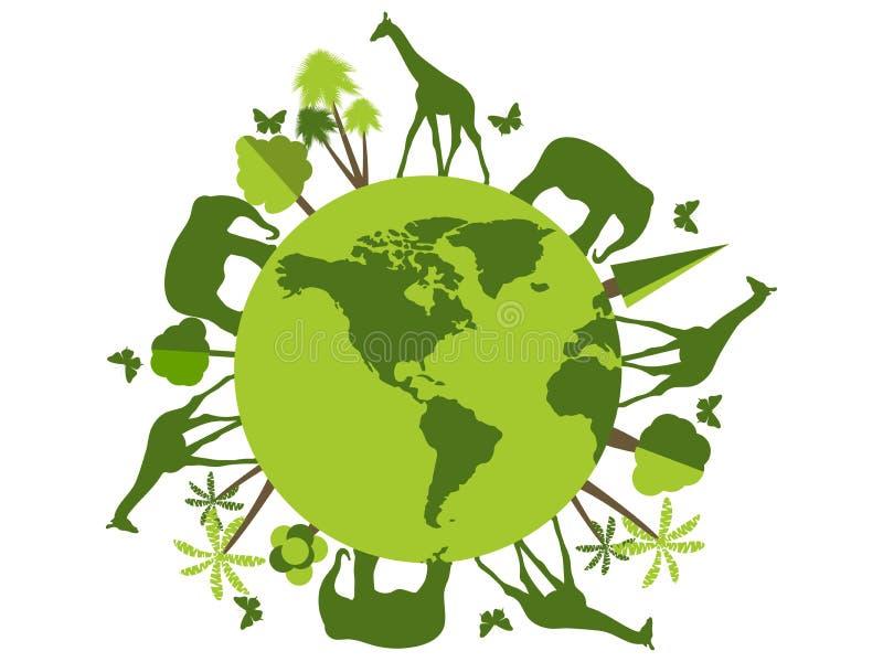 Tiere auf dem Planeten, Tierheim, Naturschutzgebiet Nette Karte der Welt der Blumen und der feierlichen Fahne mit Basisrecheneinh stock abbildung