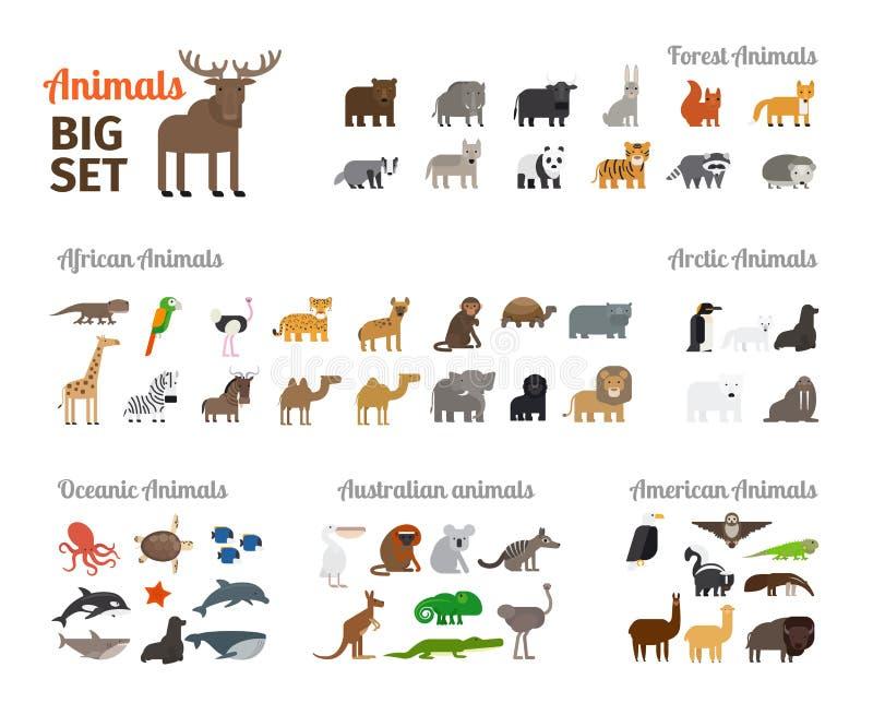 Tiere in der flachen Art vektor abbildung. Illustration von fauna ...