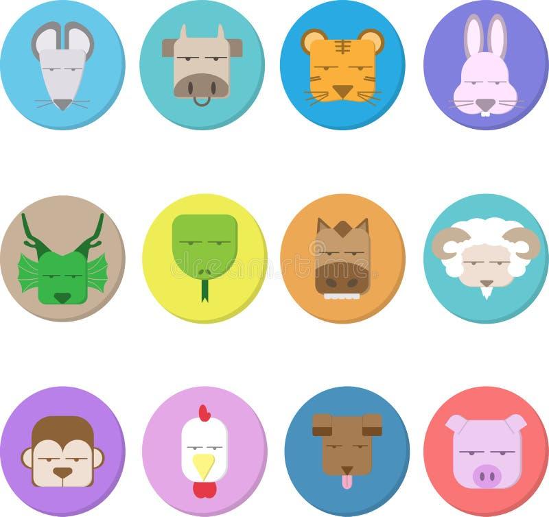 12 Tiere des chinesischen Tierkreises, des blinden Gesichtes und der Illustration stock abbildung