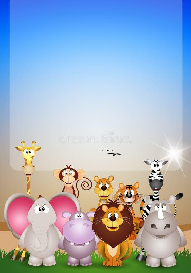 Tiere des Savannenhintergrundes lizenzfreie abbildung