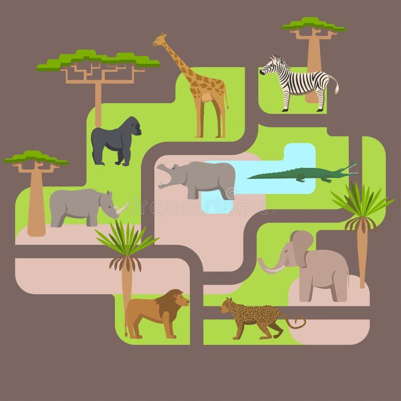 Tiere, die in Afrika wohnen stock abbildung