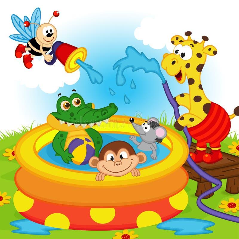 Tiere im aufblasbaren Pool stock abbildung