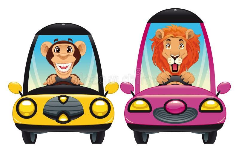 Tiere im Auto: Fallhammer und Löwe lizenzfreie abbildung