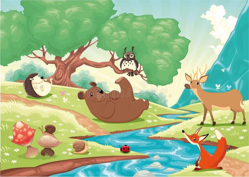 Tiere im Holz lizenzfreie abbildung
