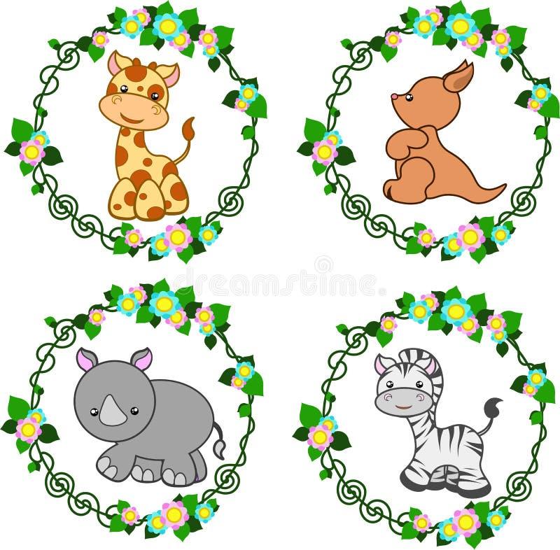 Tiere im Vektor: Giraffe, Känguru, Nashorn, Zebra vektor abbildung