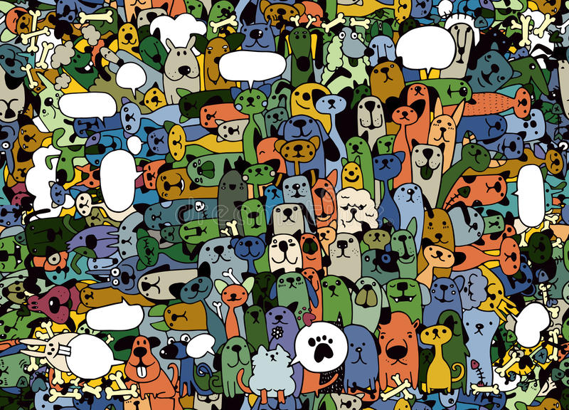 tiere Katzen-und Hundevektormuster Die gezeichnete Hand kritzelt Haustiere, s vektor abbildung