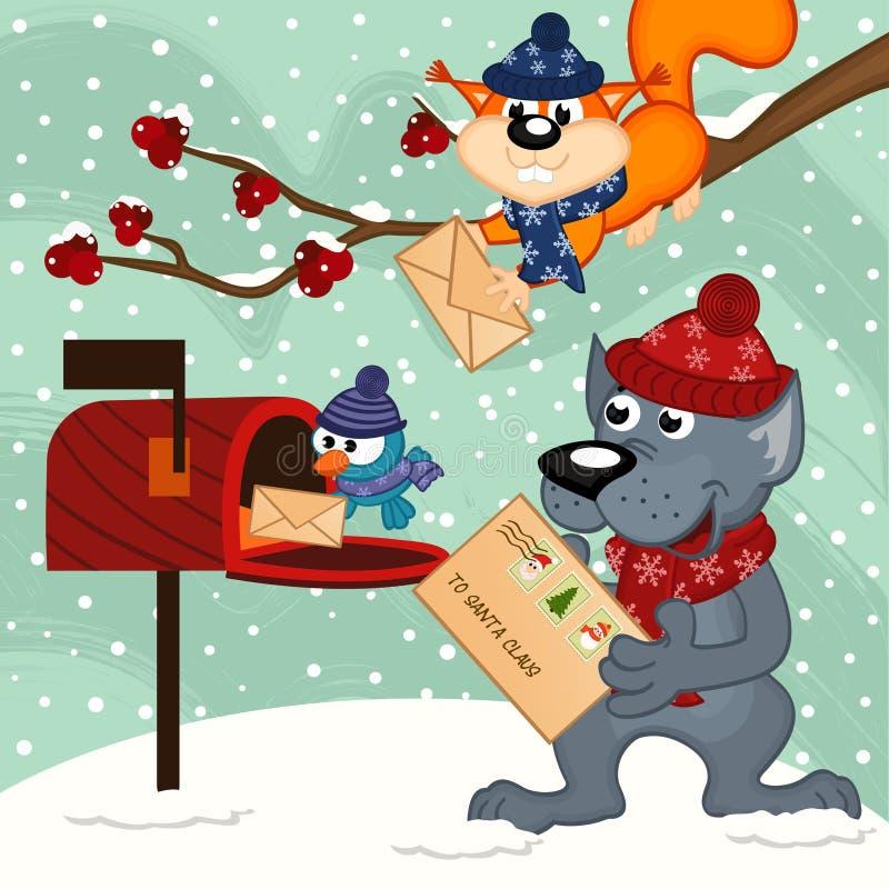 Tiere schicken Santa Claus Briefe lizenzfreie abbildung