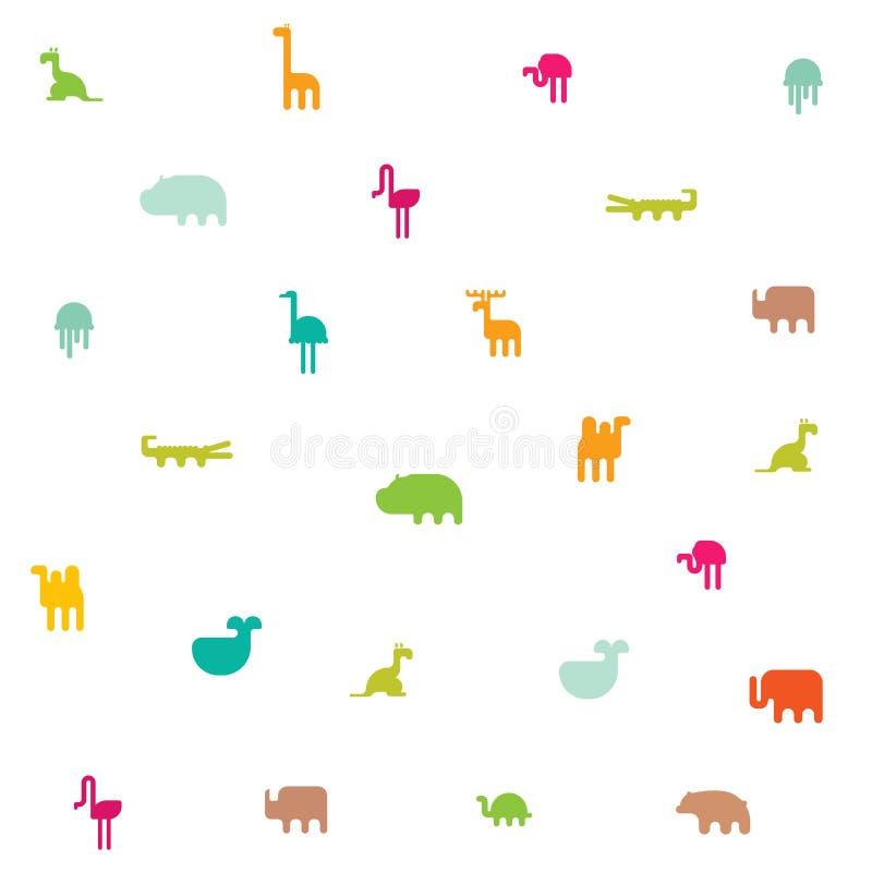 Tiere silhouettieren nahtloses Muster Flaches Design der geometrischen Illustration lizenzfreie abbildung