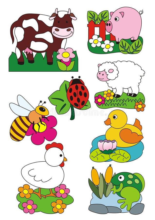 Tiere stellten, Vektorillustration, Bauernhof und Felder ein lizenzfreie stockbilder