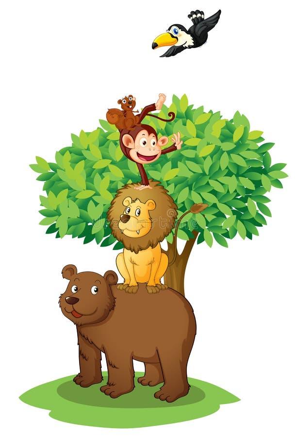Tiere unter Baum lizenzfreie abbildung