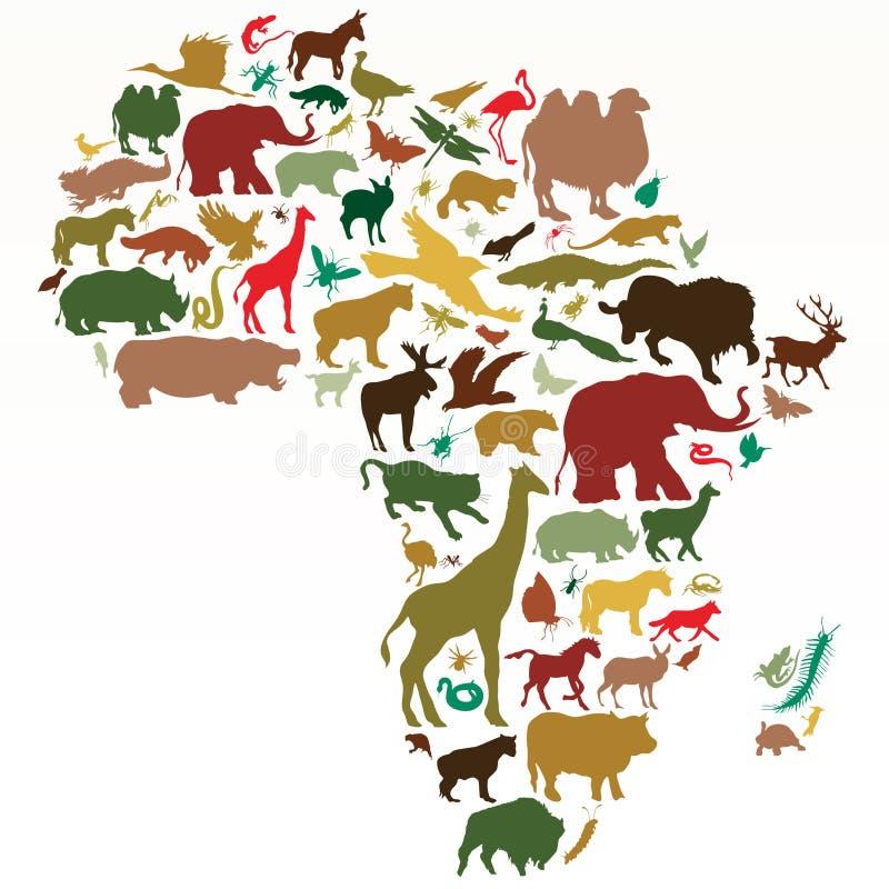 Tiere von Afrika lizenzfreie abbildung